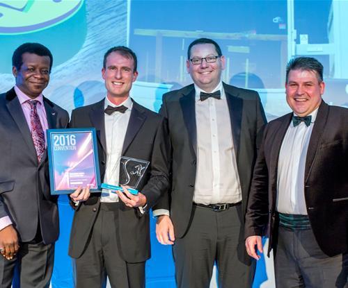 Left to right: Stephen K. Amos, Stephen Hall, Simon Berry (SignFab UK), Craig Brown