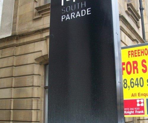South Parade exterior monolith sign