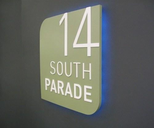South Parade back lit floor number panel