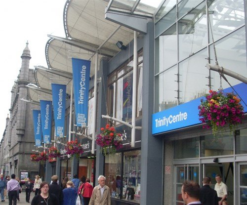 Shopping centre exterior banners and fascia sign
