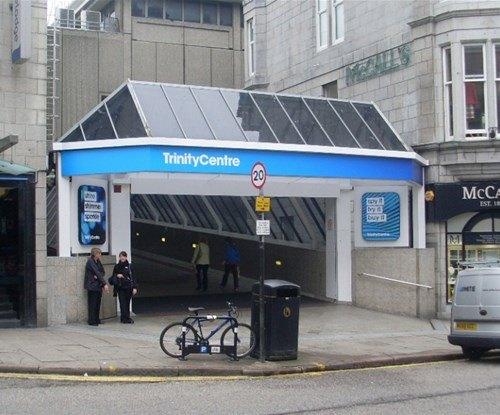 The Trinity shopping centre exterior entrance sign