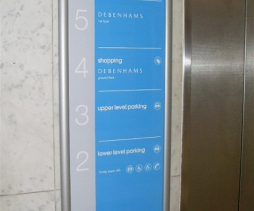 The Trinity shopping centre floor guide signage next to lift