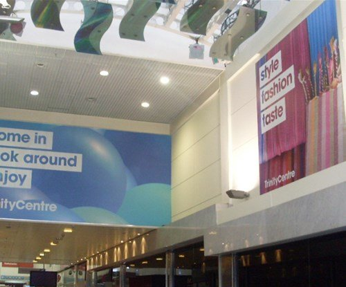 The Trinity shopping centre interior promotional graphics
