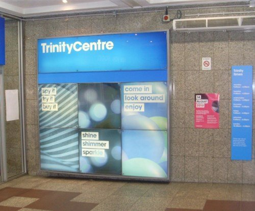 The Trinity shopping centre interior light box and wayfinding panels