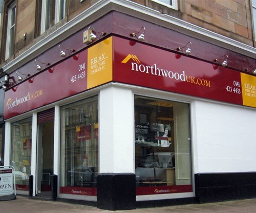 Shop fascia and window graphics installed at Northwood UK