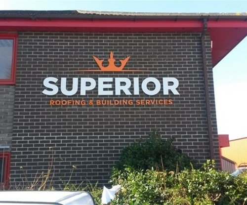 Stencil cut acrylic signage installed at high level for Harlow based Superior Roofing