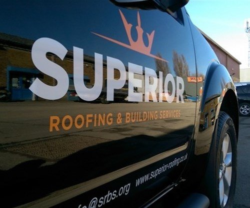 Vehicle graphics for Superior Roofing