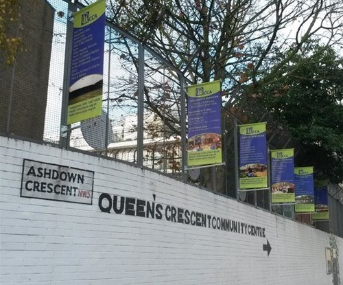 Double sided projecting banners at QCCA in Camden