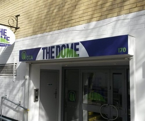 Exterior signs at The Dome in Gospel Oak