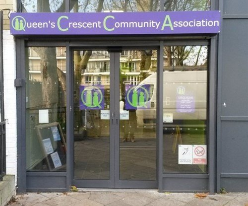 Window graphics and entrance sign QCCA