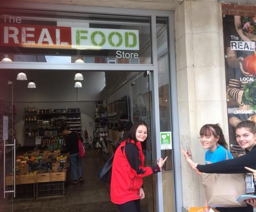 The first sticker installed at Real Food Store, Exeter
