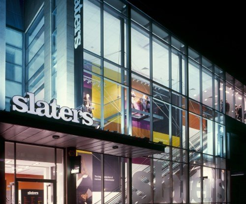 Slaters clothing shop fascia and banner signage