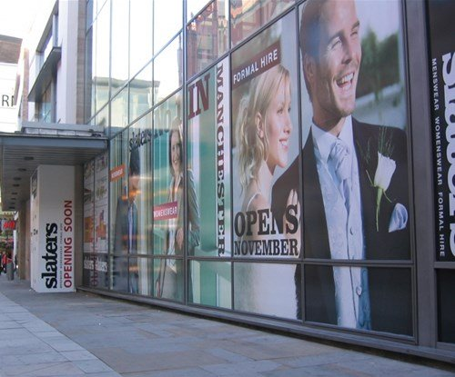Slaters 'opening soon' window graphics and boards