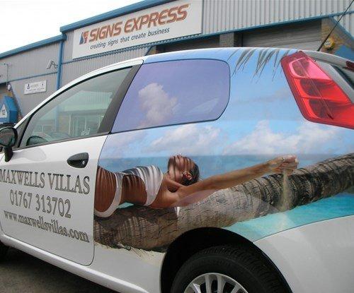 Rear vehicle wrap for Maxwells hair salon