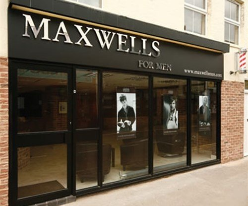 Shop fascia with individually cut lettering for Maxwells hair salon