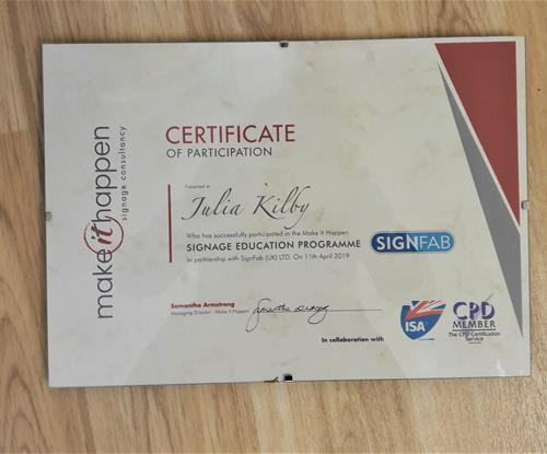 Julia's Make it Happen Certificate