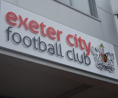 Exeter City Football Club exterior stand off lettering sign