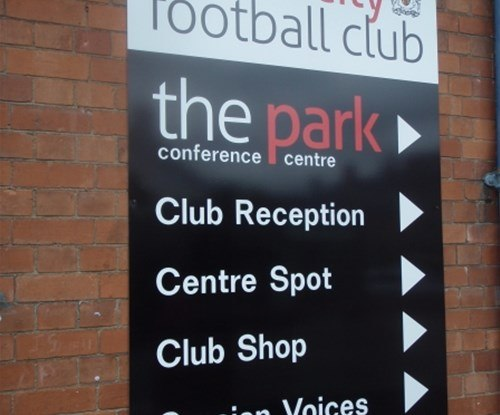 Exeter City Football Club directory panel sign