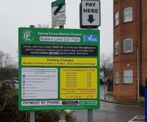 Aluminium panel and post car park signs within Epping