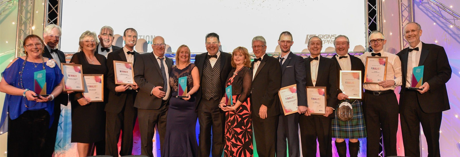 Winners and finalists at the Signs Express Sign Awards 2018