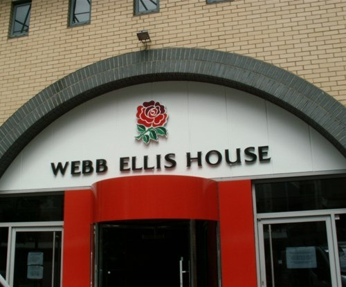 Exterior fascia sign for Webb Ellis House