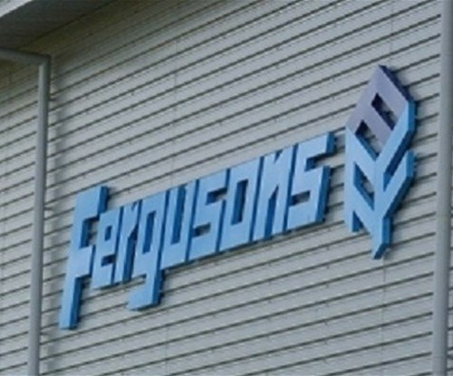 Halo illuminated letters installed at a new industrial warehouse