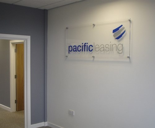 Interior sign for Pacific Leasing using 10mm clear acrylic panel with flame polished edges.
