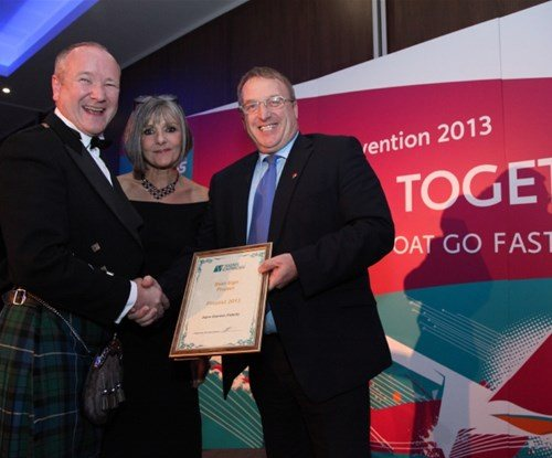 Steve McMurray of Signs Express Falkirk with Val Hirst of Sign Directions magazine and Dave Catanach of BSGA