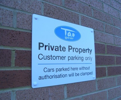Tao private parking panel sign
