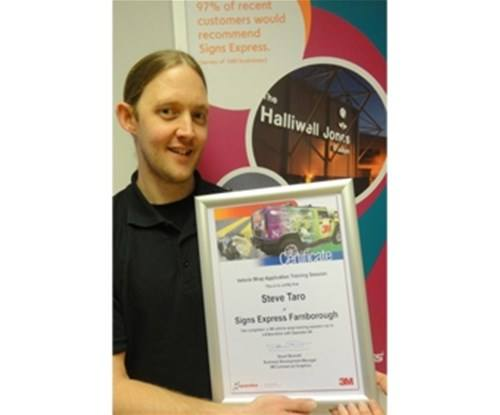 Steve Taro with his 3M certificate