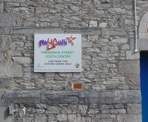 Plymouth City Council Youth Services exterior signage