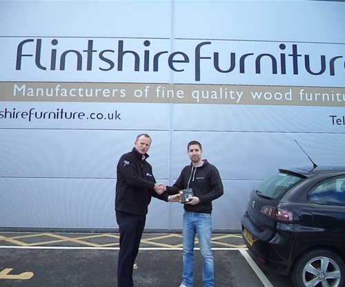 Steve Lloyd of Signs Express Chester with competition winner Kevin Paterson