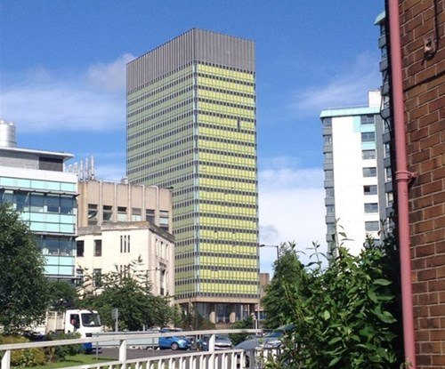 The Sheffield Arts Tower turns yellow for the Tour De France