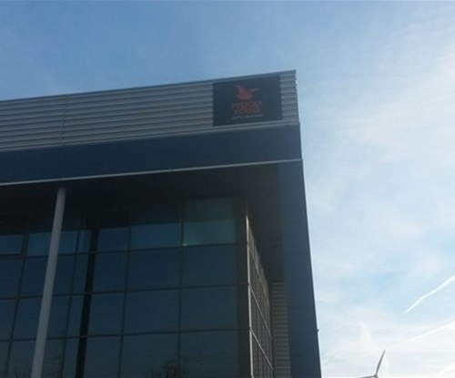 Sign panel fitted at high level to Dagenham & City depot Thames Gateway Park
