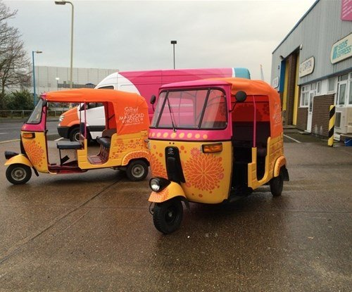 """Wrapped tuk-tuks for \""""The Second Best Exotic Marigold Hotel\"""" film"""