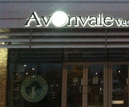 The Avonvale sign at night