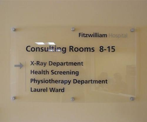 Acrylic directional signage with stand off locators