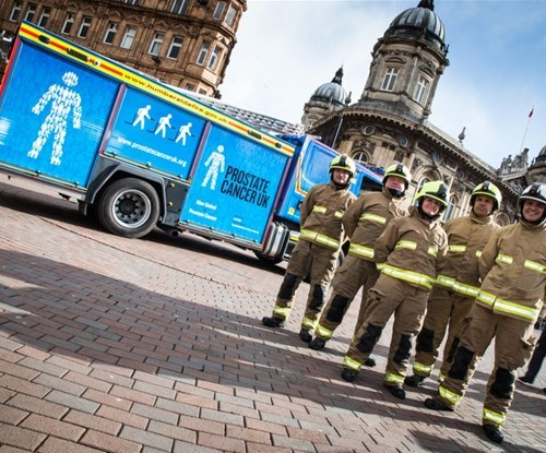 Fire engine wrapped in blue for charity