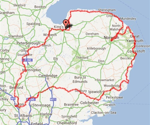Map of the Lap of Anglia route