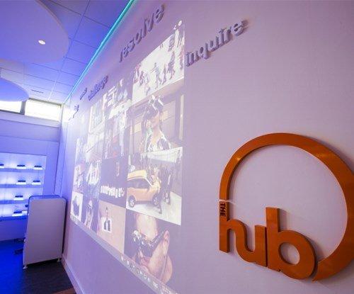 The Hub interior sign