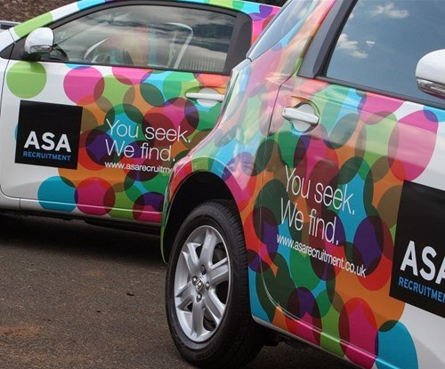 ASA Recruitment fleet of vehicles completed by Signs Express (Edinburgh)