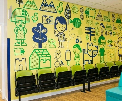 Sheffield wall graphics at the Children's Hospital