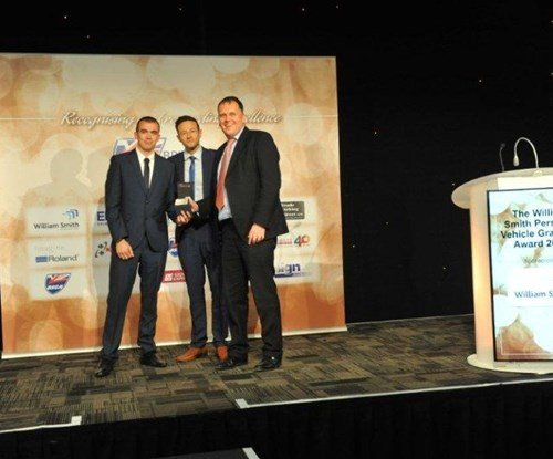 Brandon Desborough on the left and Mark Meadowcroft on the right receiving their award