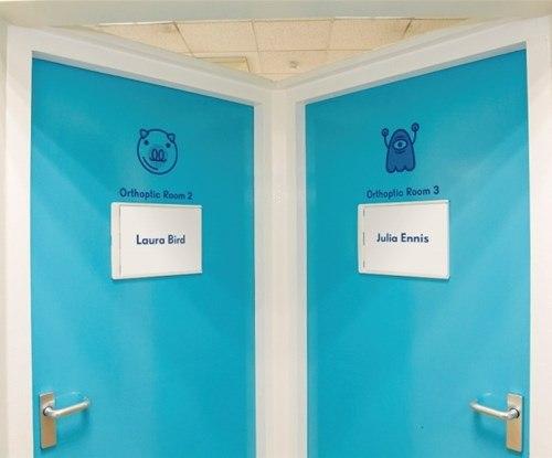 Door graphics at Sheffield's Children's Hospital Eye Department