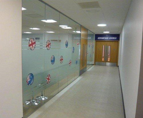 Window and door graphics at the Davis Cup