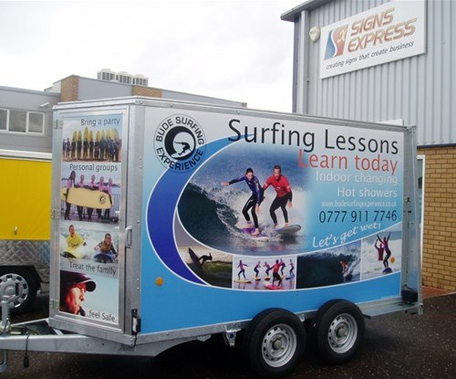 Full colour digital print wrapped onto promotional trailer for Bude Surf Experience