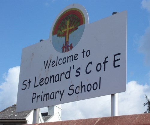 Shaped aluminium sign, post mounted for main entrance of St Leonard's School in Exeter