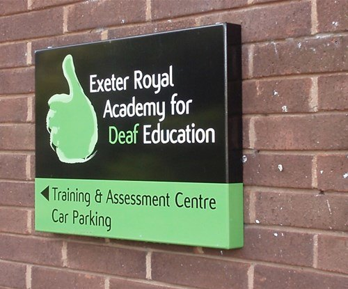 Aluminium 'tray' sign with digital print applied for new logo at Exeter Royal Academy for Deaf Education