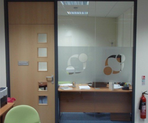 Cut vinyl logos applied to glass partitioning at St Loyes College