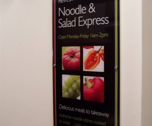 Part of a collection of signs manufactured and installed for the Salad/Noodle bar at Exeter University. Signs made from 10mm clear acrylic, polished edges, mounted on 'feature' stud locators to create a crisp, contemporary finish.